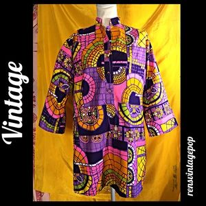 Vntg 60s Stained Glass Tunic w POCKETS!